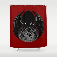 cthulhu Shower Curtains featuring Cthulhu by tuditees