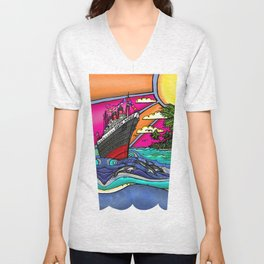 Queen Mary and Dolphins Unisex V-Neck