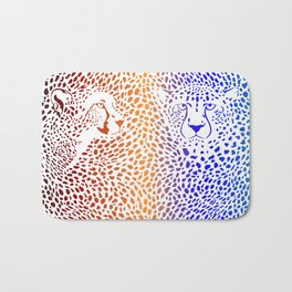 Cheetahs color background with heads Bath Mat