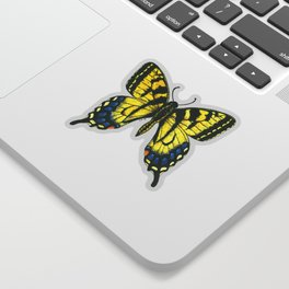 Tiger swallowtail butterfly watercolor and ink Sticker