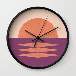 Sunset Geometric Pink Midcentury style Wall Clock