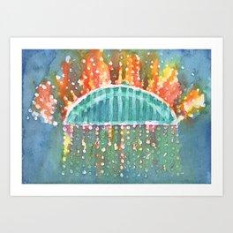 Fireworks at Sydney Harbour Bridge  Art Print
