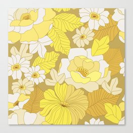 Yellow, Ivory & Brown Retro Flowers Canvas Print