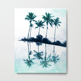 Palm Tree Reflections Teal Metal Print