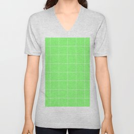 Graph Paper (White & Light Green Pattern) Unisex V-Neck