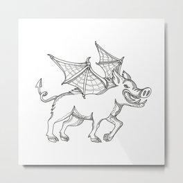 Winged Wild Boar Doodle Art Metal Print