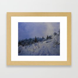 winter first comes in the mountain  Framed Art Print
