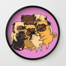 Pugs Group Hug Wall Clock