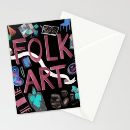 Folk Art with Black background Stationery Cards