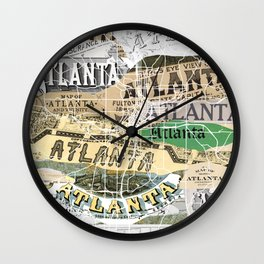 Atlanta map Wall Clock