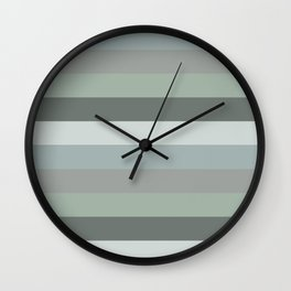 Green pastel colours geometric horizontal lines pattern for home decoration Wall Clock