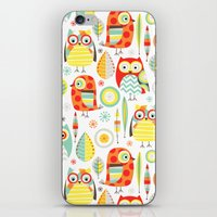 mod iPhone & iPod Skins featuring Mod Owls by Jeannine Feierbach Designs