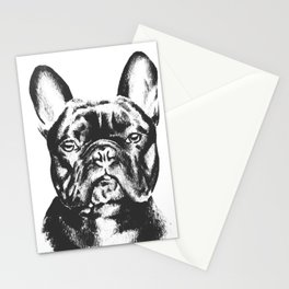 Black And White French Bulldog Sketch Stationery Cards
