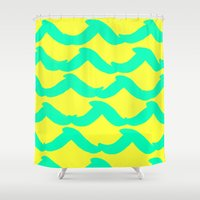 surfer Shower Curtains featuring WAYFARER- SURFER by Rebecca Allen