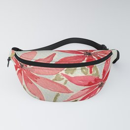 Trio of Red and Pink Pinwheel Poinsettia Style Watercolor Flowers Fanny Pack