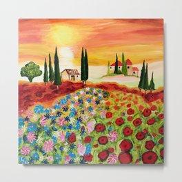 Tuscan Field of Poppies Metal Print