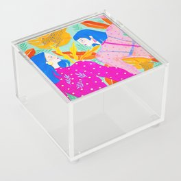 Girls Hanging Out in Garden Acrylic Box