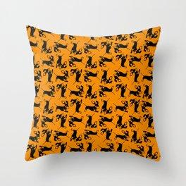 Dachshund mono print Throw Pillow