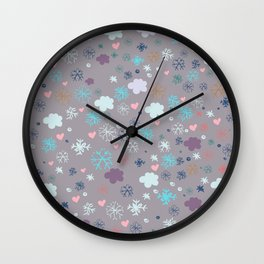 Rustic illustration flowers and clouds Wall Clock