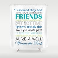 winnie the pooh Shower Curtains featuring Winnie the Pooh Friendship Quote - Blues & Greens by Jaydot Creative