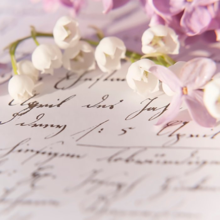Loveletter - Springflower and old letter - Photography Comforters