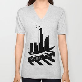 City Scape in Black and White Unisex V-Neck