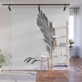 Feather and watercolor Wall Mural