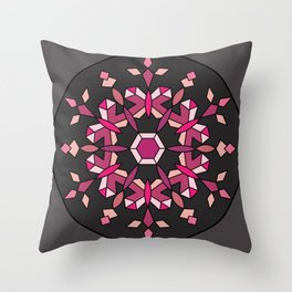 Moth's Crystal Snowflake - Red Version Throw Pillow