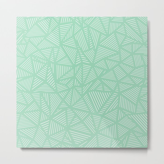 Geo Lines Mint Metal Print