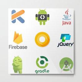 android studio developer firebase kotlin jquery java android oreo gradle stickers  9 in 1 Metal Print