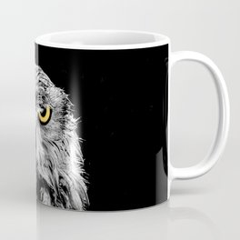 Owl photograph, black and white, with colored golden eyes Coffee Mug