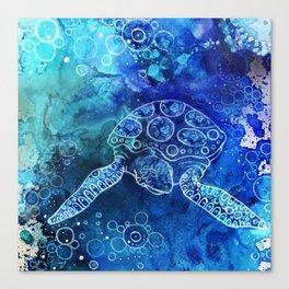 Turtle sea hawaii summer illustration original painting print Canvas Print