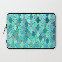 Aqua Teal Mint and Gold Oriental Moroccan Tile pattern Laptop Sleeve