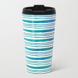 fine aqua handpainted stripes on clear white Travel Mug