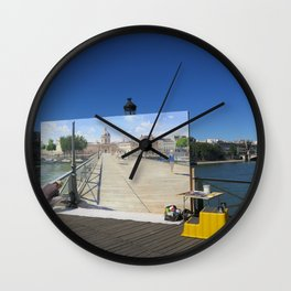Painter On The Boardwalk (Seine, France) Wall Clock