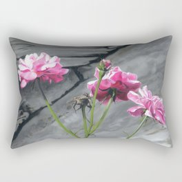 Three Pink Roses Rectangular Pillow