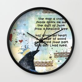 """Dust of Snow"" Crow Wall Clock"