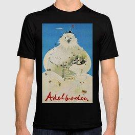 Vintage Adelboden Switzerland Travel Poster - Snowman T-shirt