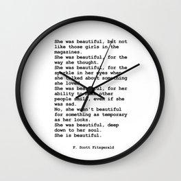 She was beautiful by F. Scott Fitzgerald #minimalism #poem Wall Clock