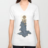 mucha V-neck T-shirts featuring Mucha Pin Up Girl by Karen Hallion Illustrations