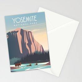 yosemite national park vintage travel poster Stationery Cards