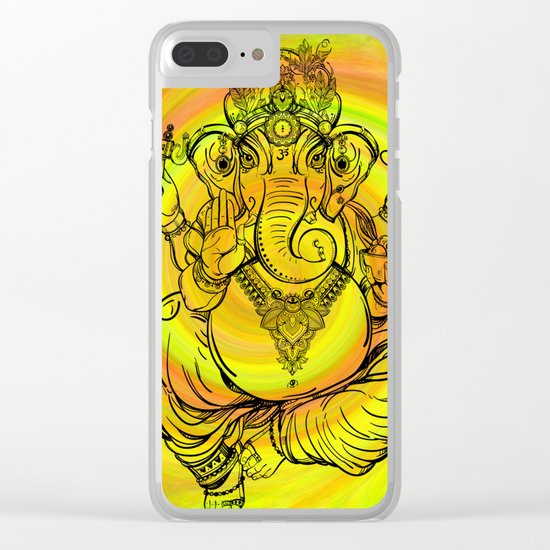 Lord Ganesha on Yellow Spiral Clear iPhone Case