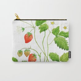 strawberry and strawberry flowers watercolor painting Carry-All Pouch