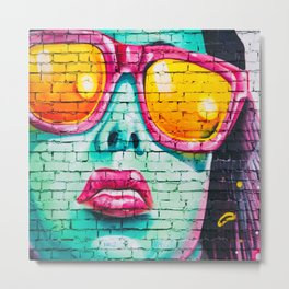 Graffiti Neck Gator Sunglass Woman Urban Art Metal Print