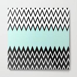 Modern black white teal stylish chevron pattern  Metal Print