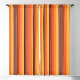 70's Graphic Stripes in Orange Ombre Blackout Curtain