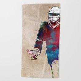 Lacrosse sport art #lacrosse #sport Beach Towel