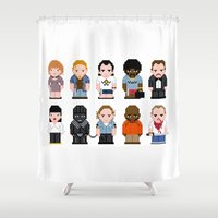 pulp fiction Shower Curtains featuring Pixel Pulp Fiction Characters by PixelPower