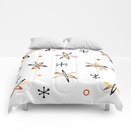 Atomic Era Space Age Orange Brown White Comforters