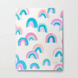Abstract Rainbow Arcs – Pastel Palette Metal Print